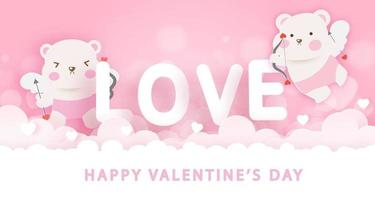 Valentinstag Grußkarte mit niedlichen Amor Bären. vektor