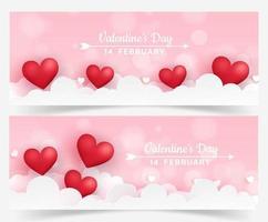 uppsättning valentins banners med hjärtan