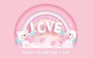 Valentinstag Grußkarte mit niedlichen Amor Bären und Liebe Text vektor