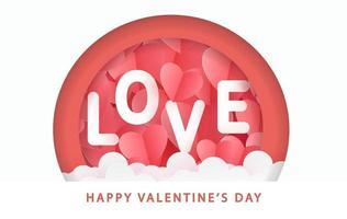 Alla hjärtans dag gratulationskort med papper konst hjärtan och kärlekstext.
