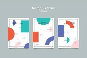 Memphis Cover Kollektion mit geometrischen vektor