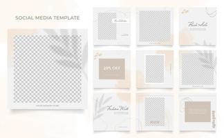 Social Media Vorlage Banner Mode Verkauf Promotion. voll editierbares quadratisches Pfostenrahmen-Puzzle-Bio-Verkaufsplakat. brauner weißer Vektorhintergrund