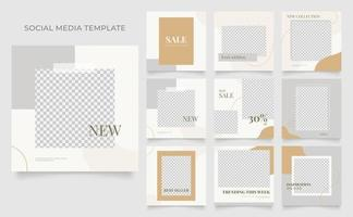 Social Media Vorlage Banner Blog Mode Verkauf Förderung. voll editierbares quadratisches Pfostenrahmen-Puzzle-Bio-Verkaufsplakat. brauner grauer weißer Vektorhintergrund