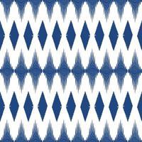 blaue Farbe Ikat nahtlosen Musterhintergrund. Design für Tapeten, Teppich, Kleidung, Verpackung, Stoff, Kissen Textildekoration. vektor