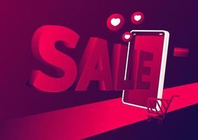 försäljning online shopping på mobil applikationsbanner. Online-butik 3d på banermallen för mobiltelefon.