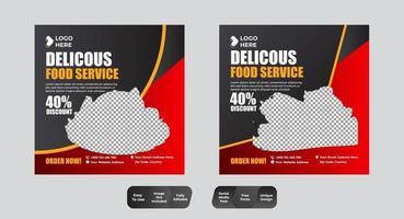 Design-Vorlage für Social Media-Beiträge für Lebensmittel und Restaurants vektor