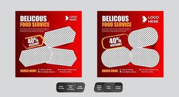 Essen und Trinken Social Media Post Set vektor