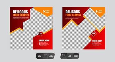 mat och dryck inläggsmall för sociala medier vektor