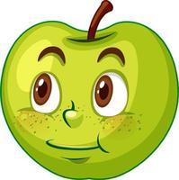 Apfel-Zeichentrickfigur mit Gesichtsausdruck