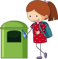 ein Gekritzelmädchen, das Müllkarikaturfigur reinigt, isoliert
