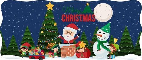 god jul teckensnitt med jultomten i snö scen