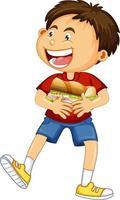 glückliche junge Zeichentrickfigur, die Nahrungsmittelsandwich umarmt