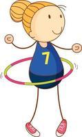 süßes Mädchen, das Hula Hoop Zeichentrickfigur in der Hand gezeichnet Gekritzelart lokalisiert spielt
