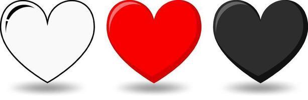 uppsättning av olika former av hjärta