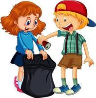 eine Jungen- und Mädchen-Zeichentrickfigur, die Müll säubert vektor