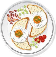 ovanifrån av frukost på en isolerad maträtt