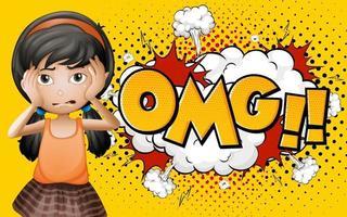 Omg Wort auf Explosion Hintergrund mit Mädchen Zeichentrickfigur vektor