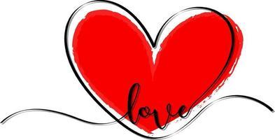 rote Herzhand gezeichnet mit Liebesschrift vektor