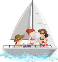 Leute, die auf einem Segelboot stehen, lokalisiert auf weißem Hintergrund