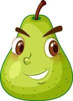 grüne Birnenkarikaturfigur mit glücklichem Gesichtsausdruck auf weißem Hintergrund