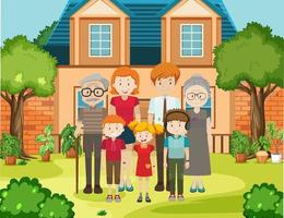 familjemedlem hemma utomhus scen vektor