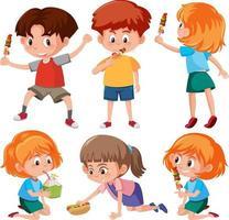 uppsättning barn seriefigur i olika pose vektor