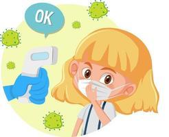 Körpertemperaturprüfung mit einem Mädchen, das Maske trägt vektor
