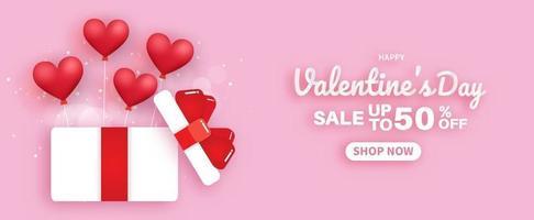Valentinstag Sale Banner. Verkauf bis zu 50. vektor