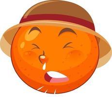 orange Zeichentrickfigur mit Gesichtsausdruck vektor