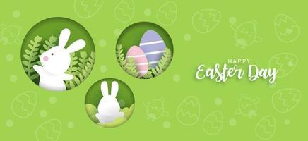 påskdagskort och bakgrund med söta kaniner och påskägg. vektor