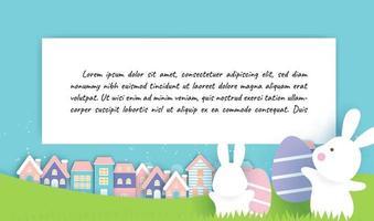 Ostertageskarte und Hintergrund mit niedlichen Kaninchen und Ostereiern. vektor