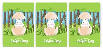 Satz Ostertageskarten mit niedlichem Kaninchen im Papierschnittstil. vektor