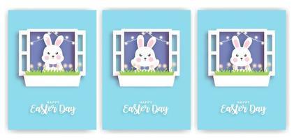uppsättning påskdagskort med söt kanin i pappersskuren stil.