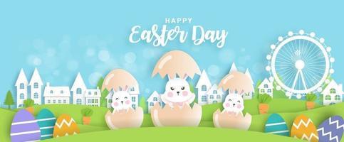 påskdagskort och bakgrund med söta kaniner och påskägg.