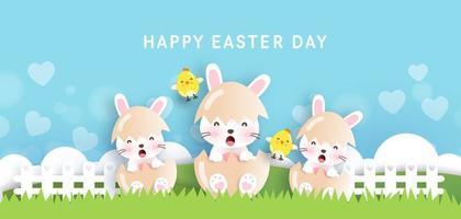 Ostertag Hintergrund und Banner mit niedlichen Kaninchen und Ostereiern. vektor