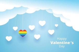 glücklicher Valentinstag, hängender Herzhintergrund vektor