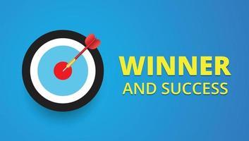 Pfeil trifft das Ziel-, Gewinner- und Erfolgskonzept vektor