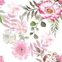 elegantes nahtloses Muster mit schönem handgezeichnetem Blumenmuster vektor