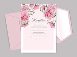 vackra och eleganta blommiga mallar för bröllopinbjudan vektor