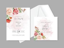schöne und elegante Blumenhochzeitseinladungskartenschablonen vektor