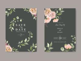 elegant mall för bröllopsinbjudan med vacker blommönster vektor