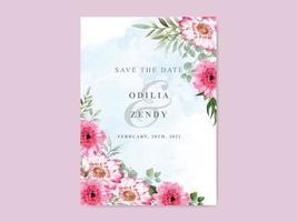 elegante Hochzeitseinladungsschablone mit schönem Blumenmuster vektor