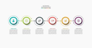 Infografik Thin Line Verbindungsvorlage mit 6 Optionen vektor