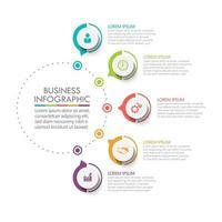 cirkel infografisk tmplatta med 5 alternativ. vektor