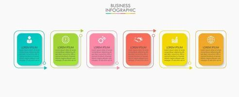 fyrkantig form modern affärsinfografisk mall med 6 alternativ vektor