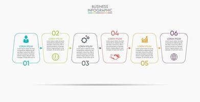 infographic tunn linje designmall med 6 alternativ vektor