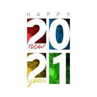 gott nytt år 2021, horisontell banner. broschyr eller kalenderomslagsmall. omslag på affärsdagbok för år 2021. konsten att papper klippa. vektor
