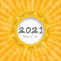 gott nytt år 2021 med vit cirkel för text. konsten att klippa papper. vektor illustration.