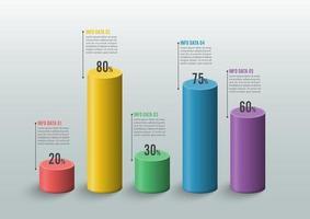 Grafiken und Diagramme. Statistik und Daten, iinfografisches Geschäftskonzept mit 5 Optionen für Inhalt, Diagramm, Flussdiagramm, Schritte, Teile, Zeitleisten-Infografiken, Workflow, Diagramm. vektor