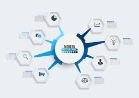 Vektor-Infografik-Vorlage mit 3D-Papieretikett, Kreise. Geschäftskonzept mit 8 Optionen. für Inhalt, Diagramm, Flussdiagramm, Schritte, Teile, Zeitleisten-Infografiken, Workflow, Diagramm.